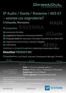 """Kolejna edycja szkolenia: """"IP Audio, Dante, Ravenna, AES67 – szansa czy zagrożenie?"""""""